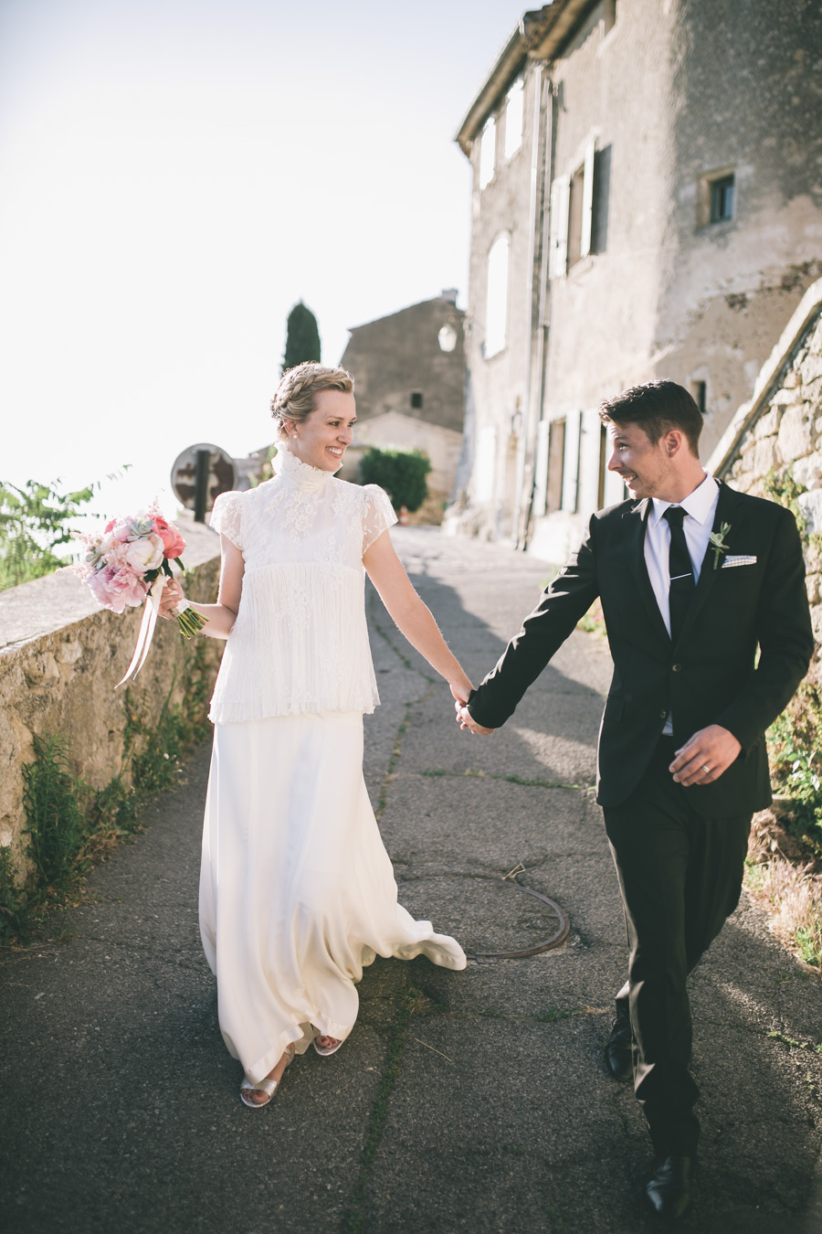 bride and groom after their wedding ceremony in Provence