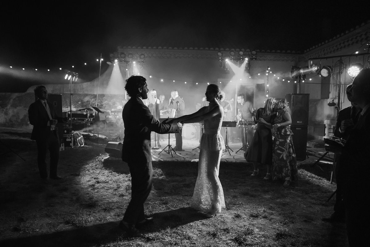 Newly-wed couple having their first dance in the south of france