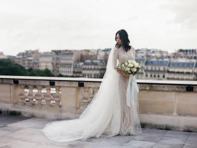 bride at the Shangri-La in Paris