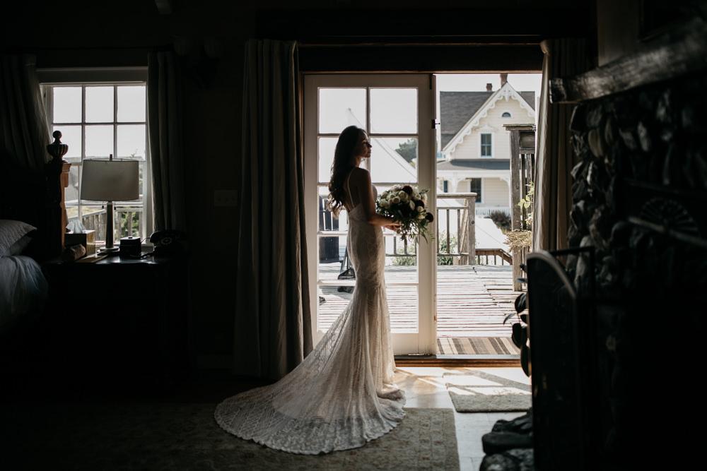 bride in her bridal dress before her wedding in California