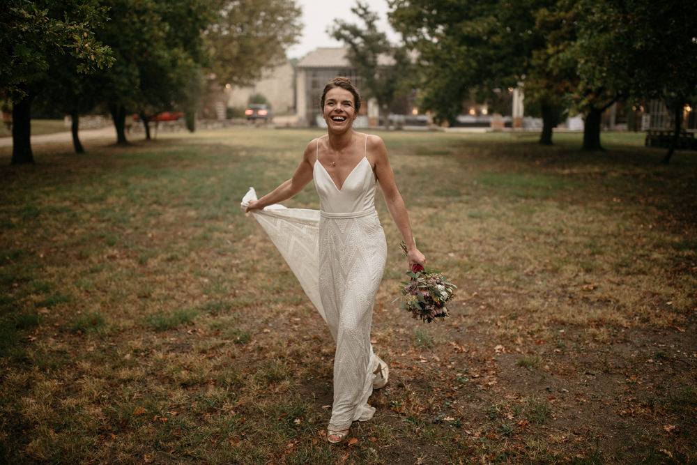 Bride Wearing A Rue De Seine Dress During Her Wedding In Provence At Les Domaines
